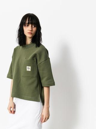 T-shirt Stussy Juno Boxy Mock Neck Wmn (olive)