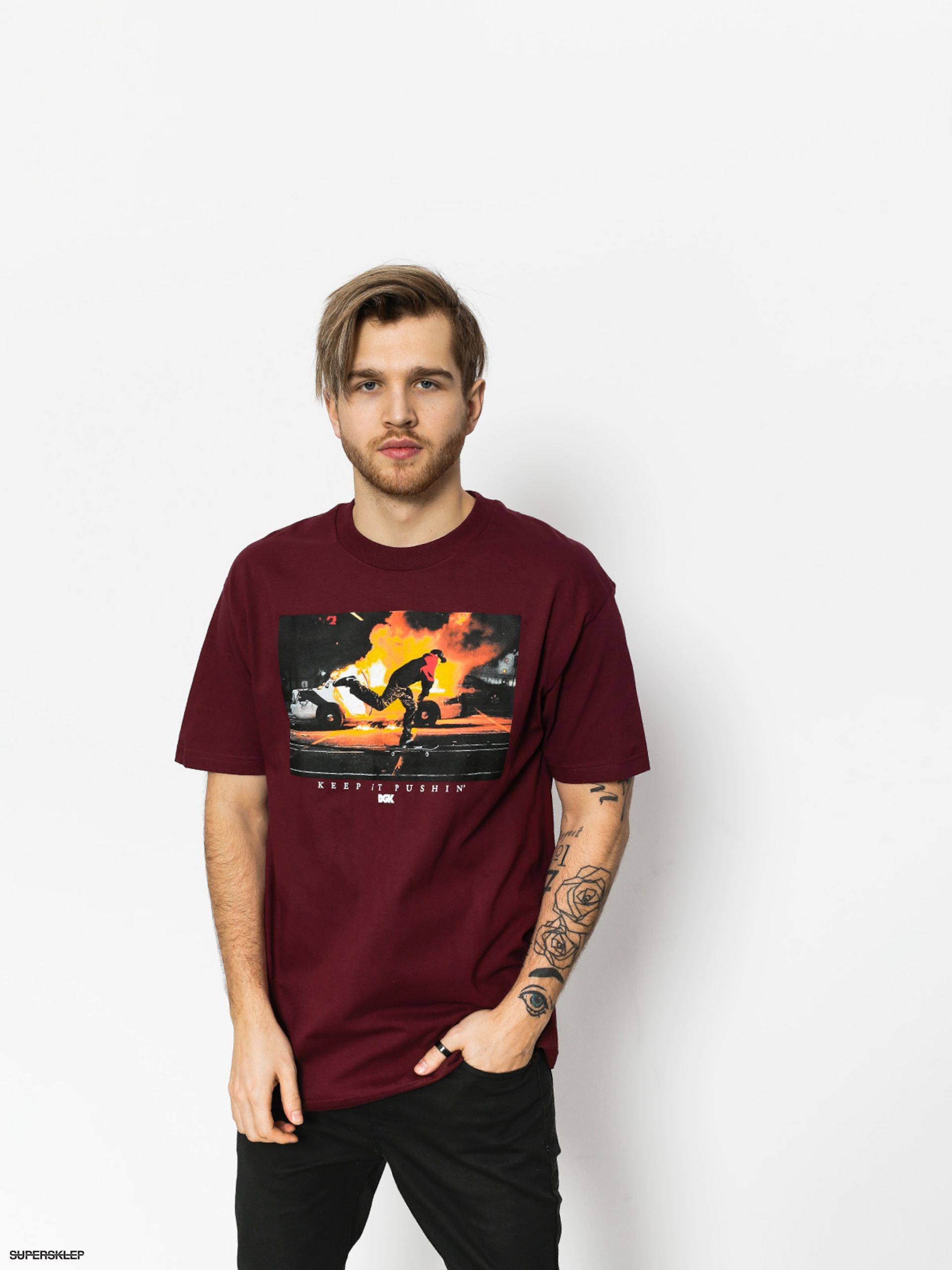 T-shirt DGK Pushin (burgundy)