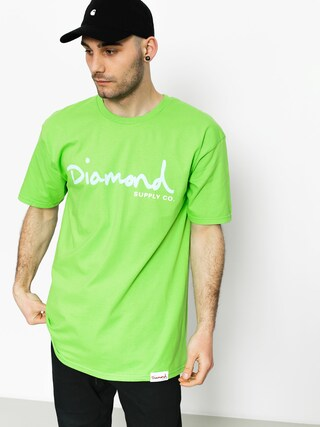 T-shirt Diamond Supply Co. Og Script (lime)