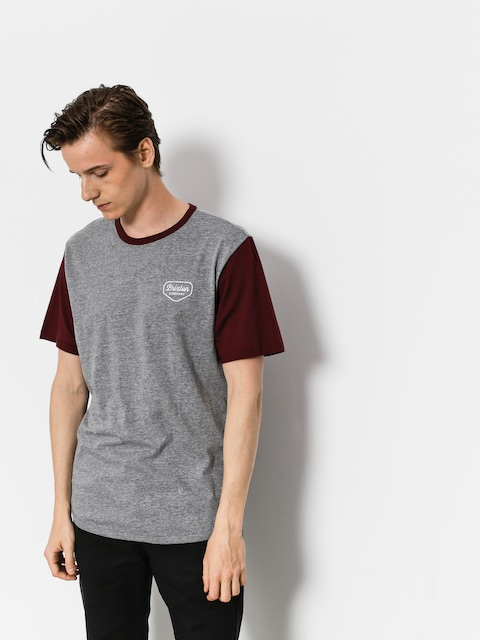 T-shirt Brixton Novato Knit (heather grey/maroon)
