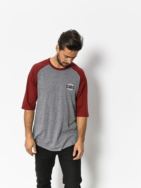 T-shirt Brixton Speedway 1/2 Slv (heather grey/burgundy)