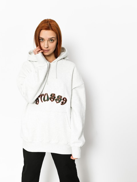 Bluza z kapturem Stussy Lennox Oversized HD Wmn (white heather)