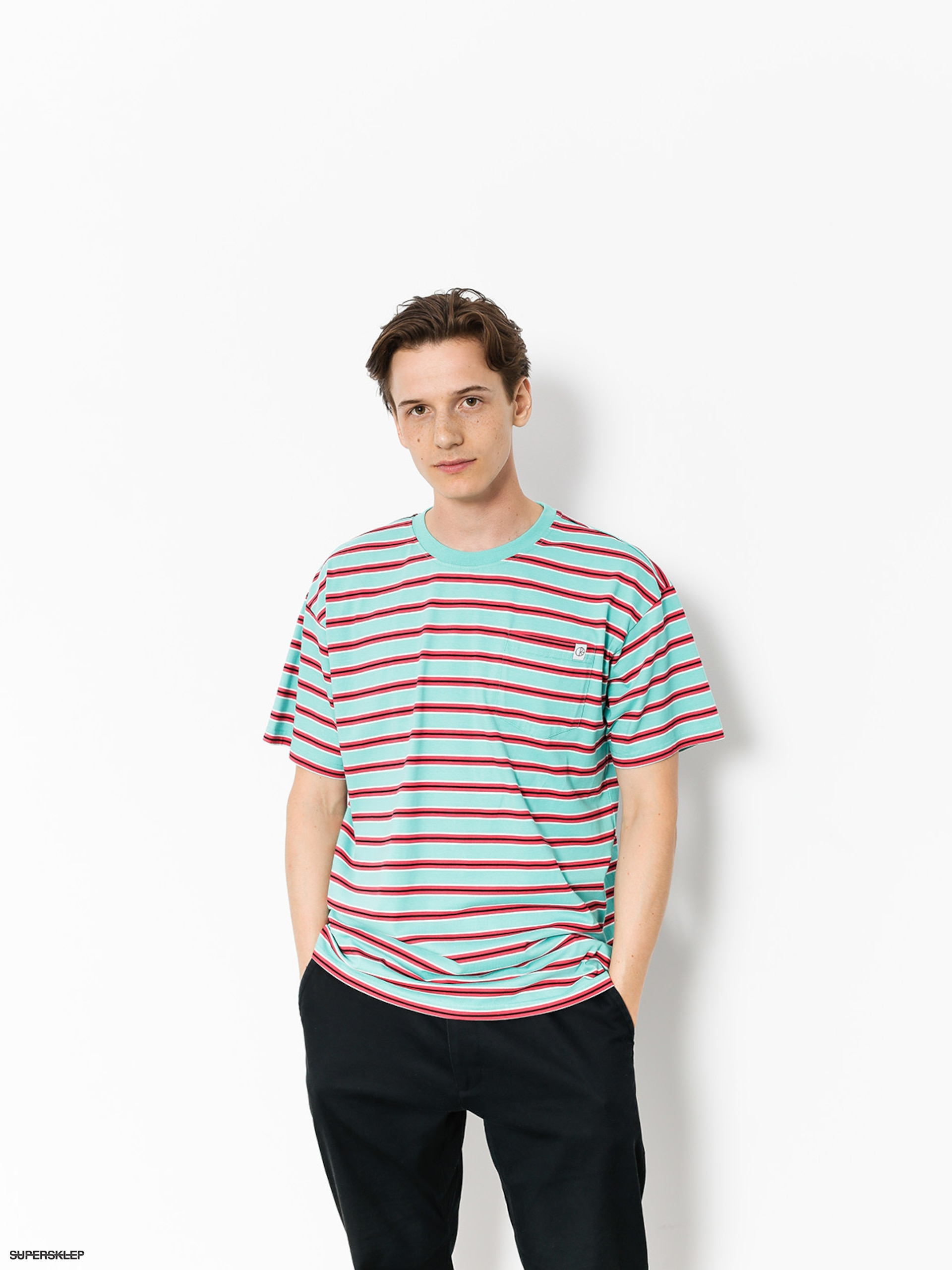 T-shirt Polar Skate Striped Pocket (mint/coral red)
