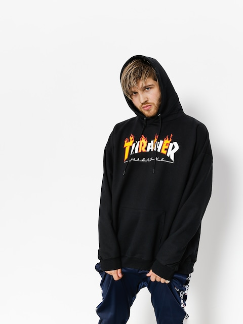 Bluza z kapturem Thrasher Flame Mag HD (black)