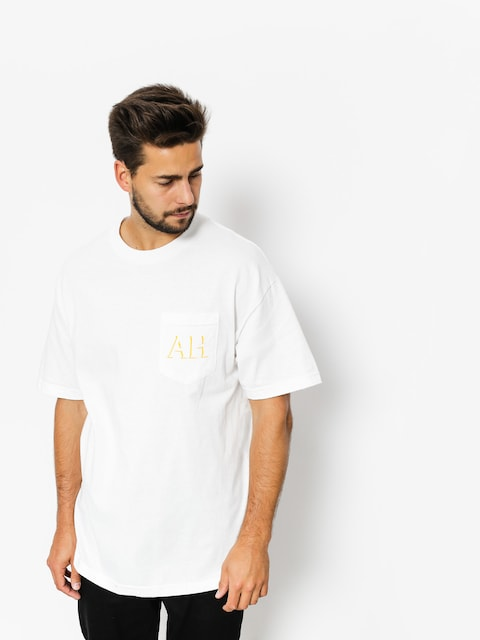 T-shirt Antihero Drop Hero Pocket (white/yellow)