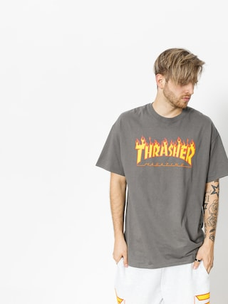 T-shirt Thrasher Flame Logo (charcoal grey)