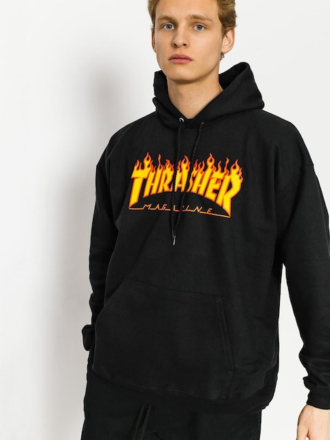 Bluza z kapturem Thrasher Flame HD (black)