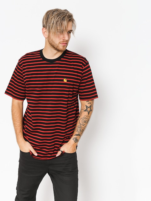 T-shirt Carhartt WIP Robie (robie stripe black/blast red)