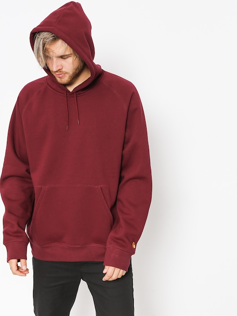 Bluza z kapturem Carhartt WIP Chase HD (mulberry/gold)