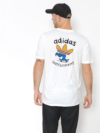 T-shirt adidas Pushing Tre (white/collegiate orange/tactile yellow)
