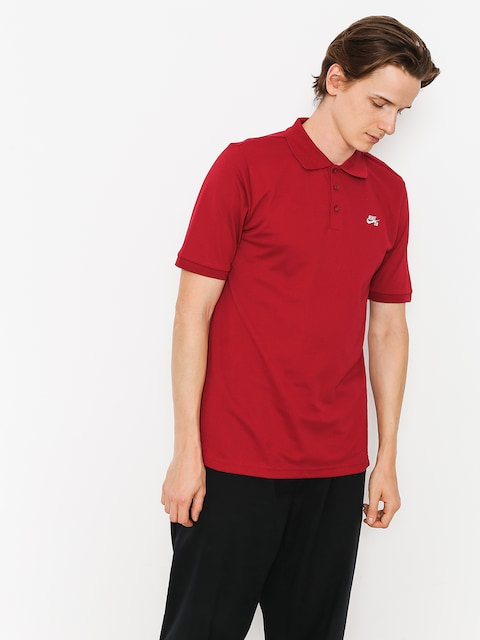 Polo Nike SB Sb Dri Fit Pique (red crush/white)