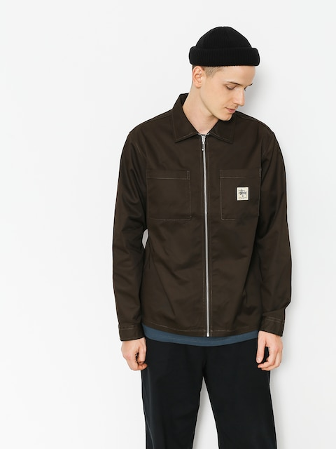 Koszula Stussy Zip Up Work (brown)
