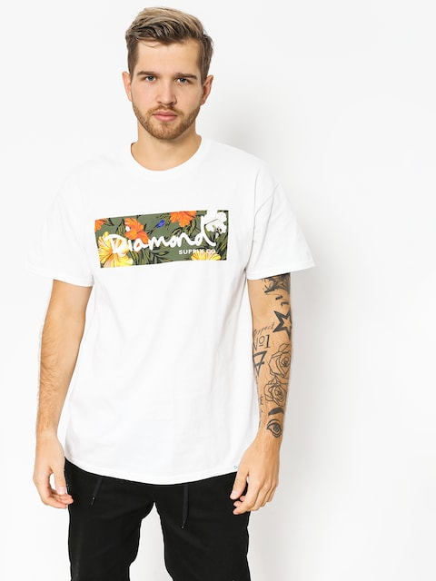 T-shirt Diamond Supply Co. Aloha Floral Box Logo (white)