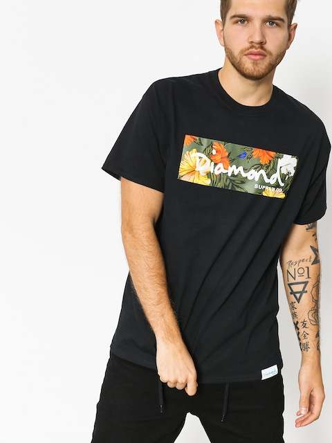 T-shirt Diamond Supply Co. Aloha Floral Box Logo (black)