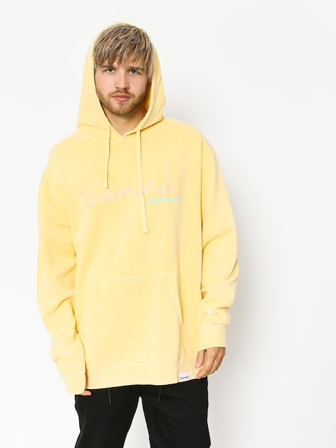 Bluza z kapturem Diamond Supply Co. Og Script Pigment Dyed HD (yellow)