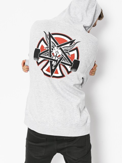 Bluza z kapturem Independent x Thrasher Pentagram Cross HD (grey heather)