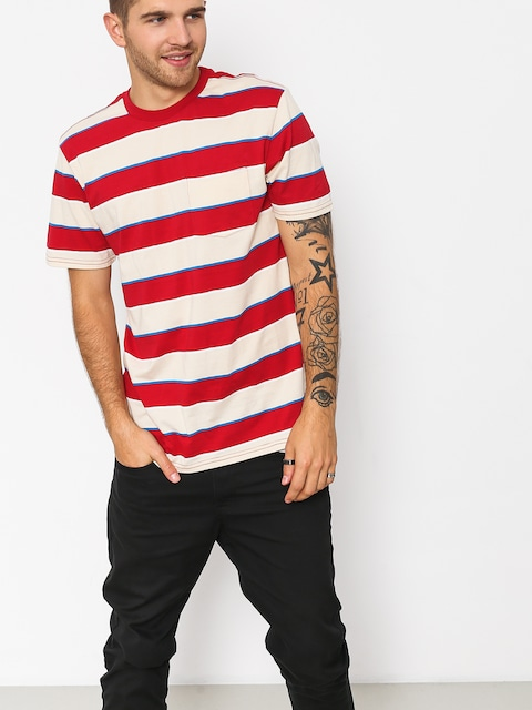 T-shirt Brixton Hilt Wshd Pkt (tan/red)