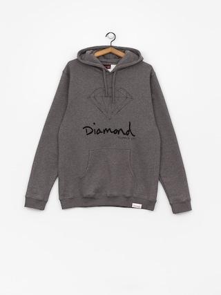 Bluza z kapturem Diamond Supply Co. Og Sign HD (gunmetal heather)
