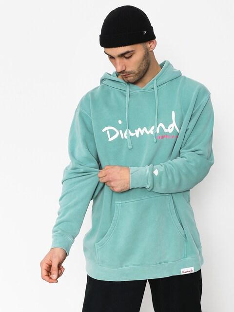 Bluza z kapturem Diamond Supply Co. Og Script Pigment Dyed HD (diamond blue)